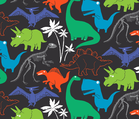 Dinosauria Gray (large scale) fabric by leanne on Spoonflower - custom fabric