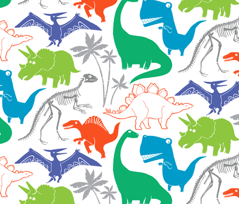 Dinosauria White (large scale) fabric by leanne on Spoonflower - custom fabric