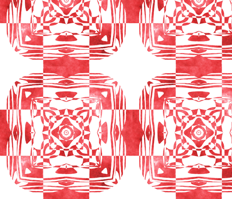 Geo Floral Red Design, M fabric by animotaxis on Spoonflower - custom fabric