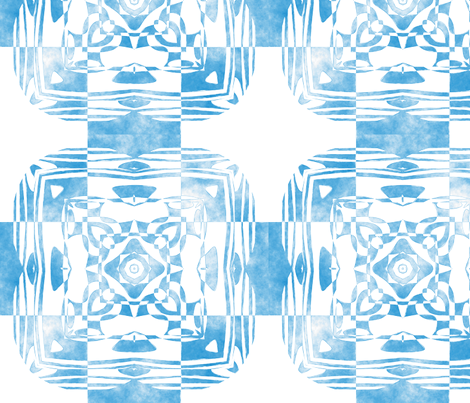 Geo Floral Sky Blue Design, M fabric by animotaxis on Spoonflower - custom fabric