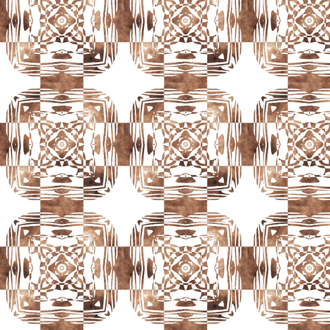 Geo Floral Coffe Brown, S fabric by animotaxis on Spoonflower - custom fabric