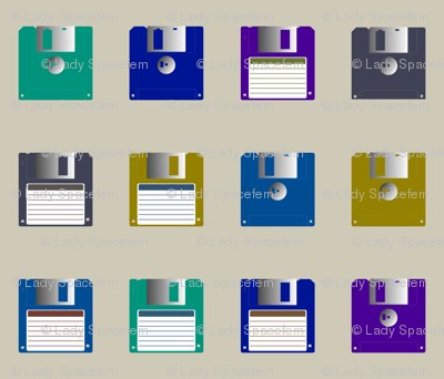 Floppy disks spaced