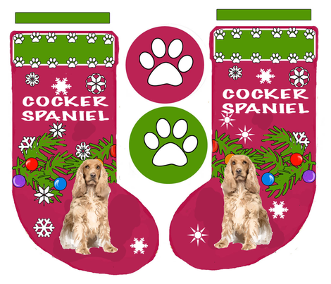 COCKER_SPANIEL_cut and sew Christmas Stocking fabric by dogdaze_ on Spoonflower - custom fabric