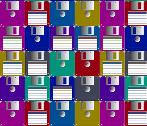 Floppy disks tiled fabric by spacefem on Spoonflower - custom fabric