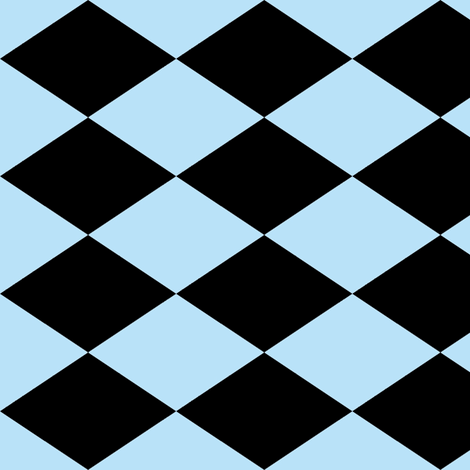 Large Harlequin Check in Light Blue