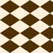 Large Harlequin Check in Brown and Cream