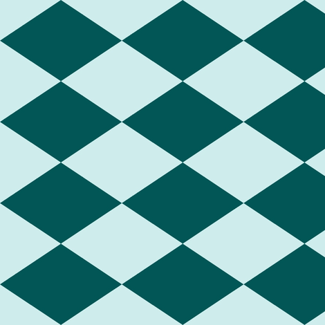 Large Harlequin Check in Teal-Mint fabric by charmcitycurios on Spoonflower - custom fabric