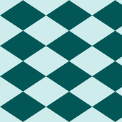 Large Harlequin Check in Teal-Mint