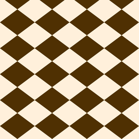 Small Harlequin Check in Brown and Cream fabric by charmcitycurios on Spoonflower - custom fabric