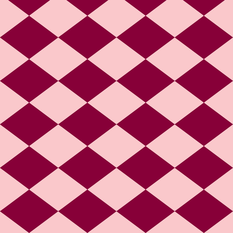 Small Harlequin Check in Raspberry fabric by charmcitycurios on Spoonflower - custom fabric
