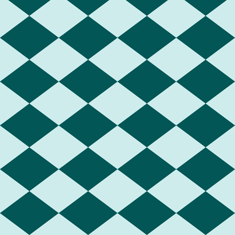 Small Harlequin Check in Teal-Mint fabric by charmcitycurios on Spoonflower - custom fabric