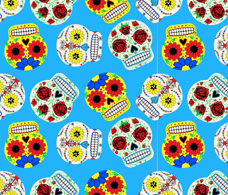 Day of the Dead - Blue fabric by happyhappymeowmeow on Spoonflower - custom fabric