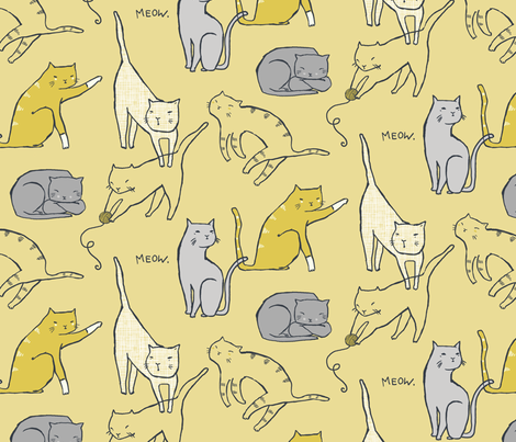 Meow Mixer (Wheat) Large scale fabric by leanne on Spoonflower - custom fabric