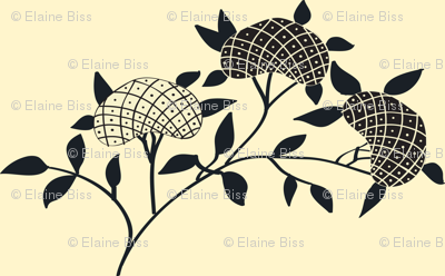 Art Deco Cream and Black Flower Pattern