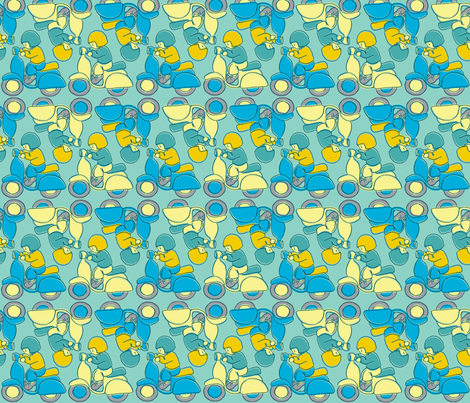 Me and My Moped fabric by woodle_doo on Spoonflower - custom fabric