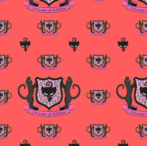 Warm House of Kitties fabric by lovekittypink on Spoonflower - custom fabric