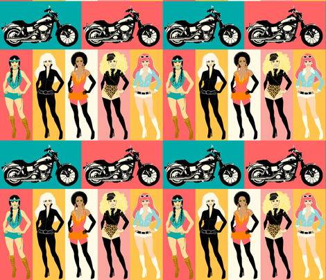 Biker Chick Fashions HALF SIZE fabric by ★lucy★santana★ on Spoonflower - custom fabric