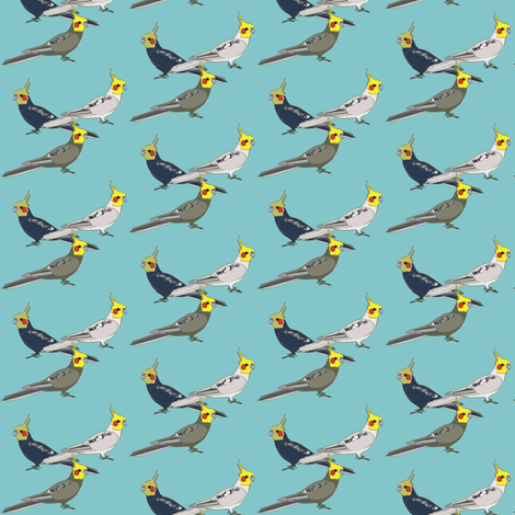 Cockatiels - Blue fabric by owlandchickadee on Spoonflower - custom fabric