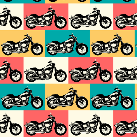 Motorcycle Grid  fabric by ★lucy★santana★ on Spoonflower - custom fabric