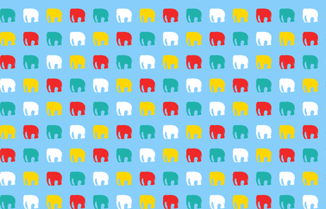 Multicoloured elephants on blue