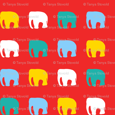 Multicoloured elephants on red