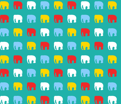 Multicoloured elephants on teal fabric by pininkie on Spoonflower - custom fabric