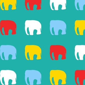 Multicoloured elephants on teal