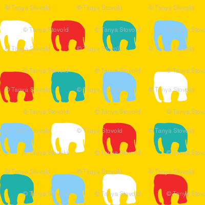 Multicoloured elephants on yellow