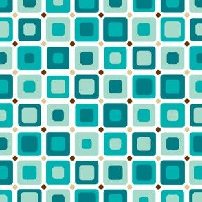 Round Squares Pattern Blue
