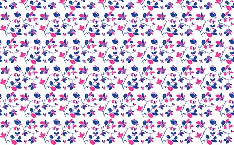 Blooming (blue + pink) fabric by biancagreen on Spoonflower - custom fabric