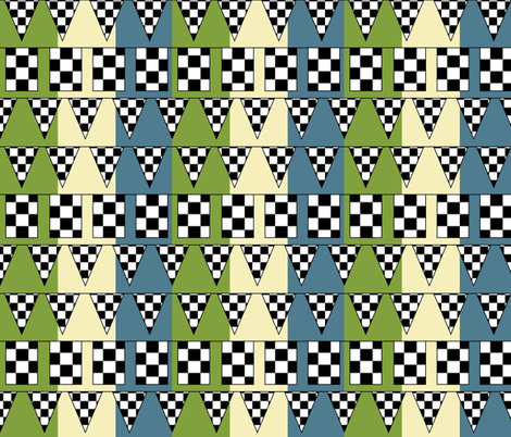 At the Finish Line - Sky + Lawn fabric by owlandchickadee on Spoonflower - custom fabric