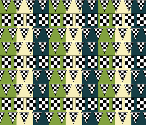 At the Finish Line - Motocycle Race Pennants fabric by owlandchickadee on Spoonflower - custom fabric