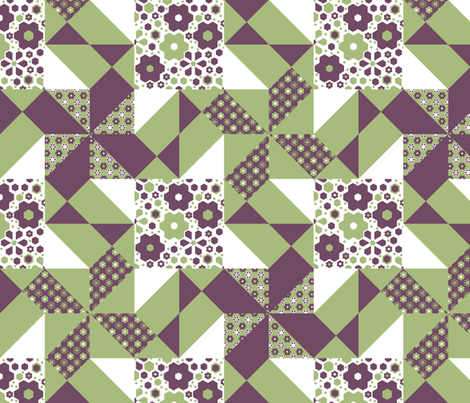 four_patch_pinwheels_in_the__wind_D fabric by khowardquilts on Spoonflower - custom fabric