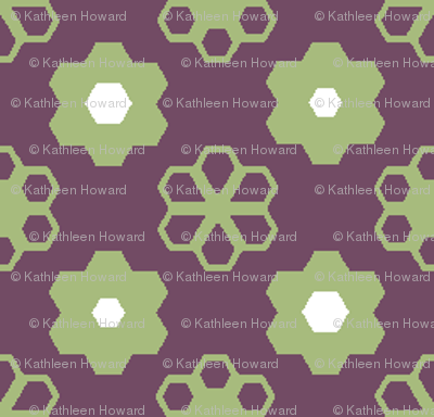 Hexagon Flowers _grape_A