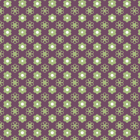Hexagon Flowers _grape_A fabric by khowardquilts on Spoonflower - custom fabric