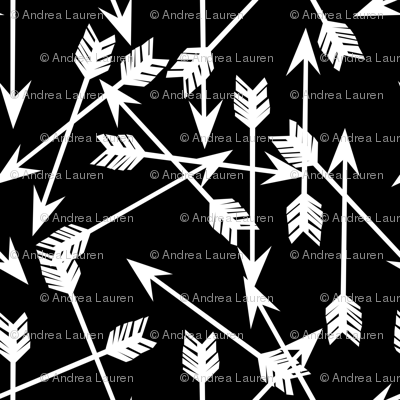 Scattered Arrows - Black and White by Andrea Lauren