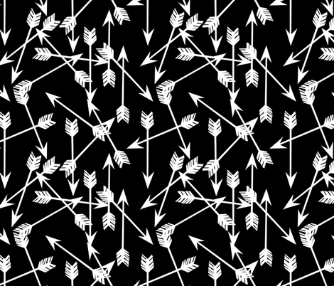 Scattered Arrows - Black and White by Andrea Lauren fabric by andrea_lauren on Spoonflower - custom fabric