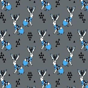Geometric Jackalope - Charcoal/Soft Blue by Andrea Lauren (small)