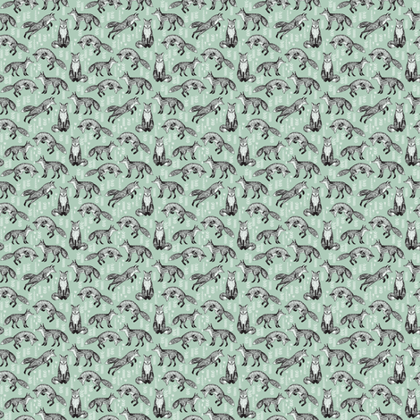 Foxes - Cambridge Blue (Tiny Version) by Andrea Lauren fabric by andrea_lauren on Spoonflower - custom fabric