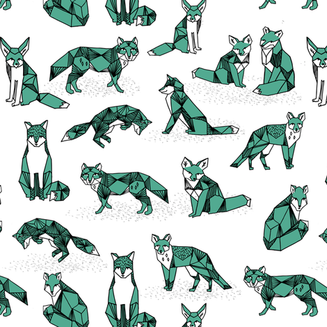 foxes // green small size fox geometric hand-drawn illustration for kids prints fabric by andrea_lauren on Spoonflower - custom fabric
