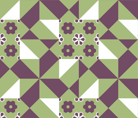 12_inch_pinwheel_in_the_wind_green_and_grape_3_crop_center fabric by khowardquilts on Spoonflower - custom fabric