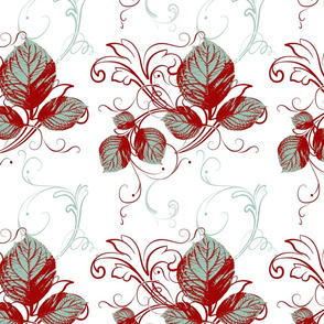 Autumn in Teal with Antique  Red Flat