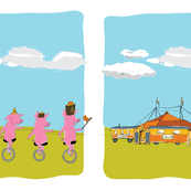 Circus pigs on unicycles