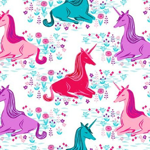 unicorns // bright pink purple aqua turquoise girls sweet unicorns