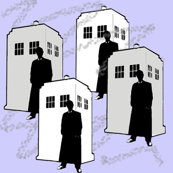 Tardis Silhouette on Light Blue
