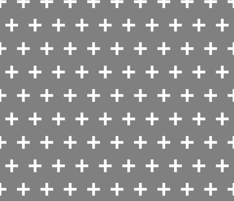 swiss cross // grey plus simple cross plus sign fabric by andrea_lauren on Spoonflower - custom fabric