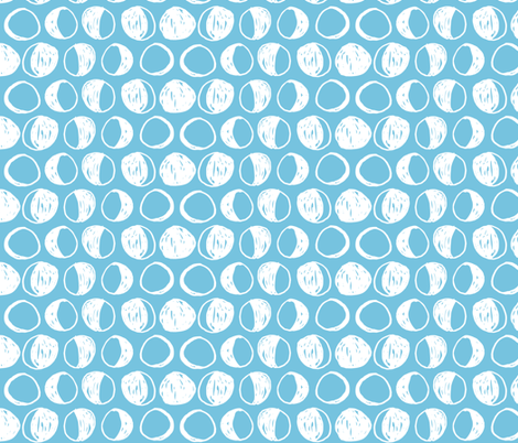 Moon Phases - Soft Blue/White by Andrea Lauren fabric by andrea_lauren on Spoonflower - custom fabric