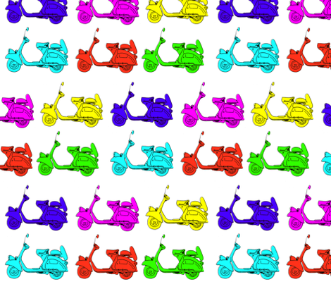 6 coloured scooters fabric by rocket_and_bear on Spoonflower - custom fabric