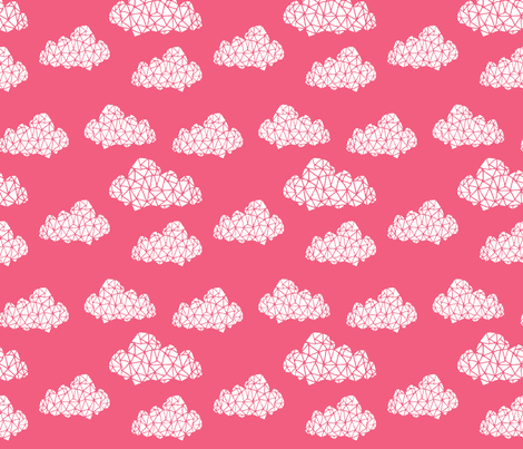 Geo Clouds - French Rose fabric by andrea_lauren on Spoonflower - custom fabric
