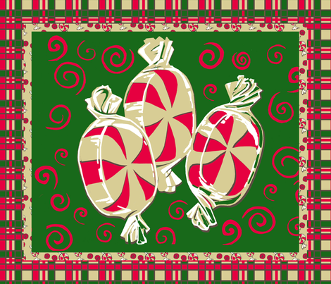 Peppermint Candy Christmas Cheater Panel (Rotated on Side) fabric by that's_artrageous on Spoonflower - custom fabric